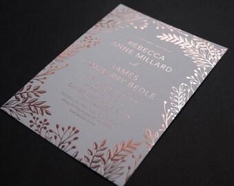 Rose gold foil copper foil invite letterpress invite wedding invitations rustic bohemian wedding set 20