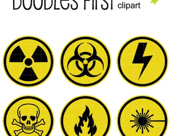 Warning Signs Clip Art for Scrapbooking Card Making Cupcake Toppers Paper Crafts