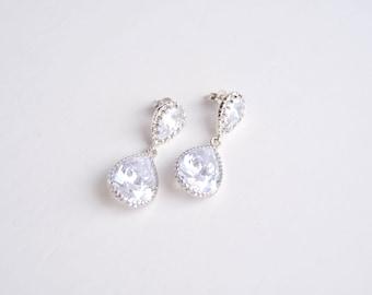 Bridal earrings Silver earrings Wedding earrings Сz earrings Wedding jewelry Bridesmaid earrings Crystal earrings Teardrop Dangle earrings