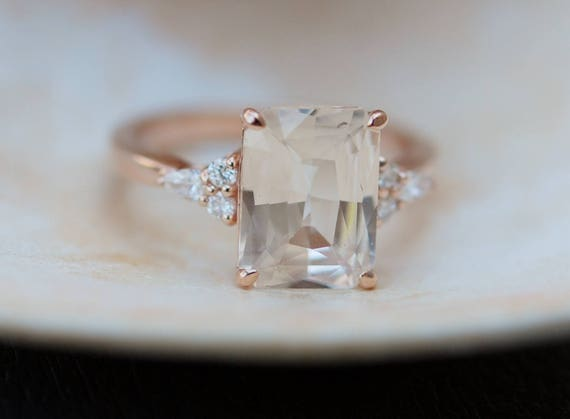 Engagement Ring Rose gold engagement ring Champagne Sapphire ring Campari ring emerald cut Rose gold diamond ring 3.5ct