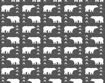 Baby Crib Rail Guard Cover - Gray Bear Vectors and Red Black Buffalo Check, Woodland