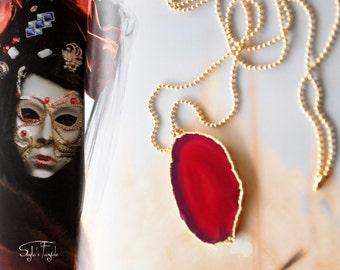 Brazilian Red Agate Slice Necklace,  Geode Druzy Necklace  - ooak -Venice
