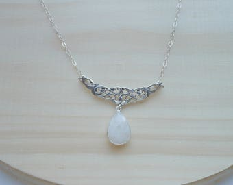 Filigree Moonstone Necklace, Statement Necklace, Mother of Bride Gift, Wedding Necklace, Gemstone Necklace, Sterling Silver Gemstone Jewelry