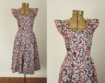 1950s floral dress | vintage 50s cotton house dress