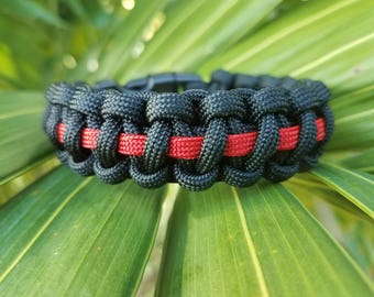 Thin Red Line Paracord Bracelet, Firefighter Paracord Bracelet, Red Line Paracord Bracelet, Thin Line Paracord Bracelet, Firemen Paracord