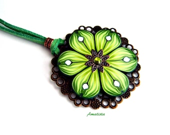 Polymer clay floral necklace: Floral pendant, Flower power necklace, Green flower pendant, Gift woman