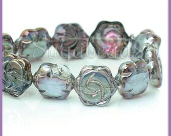10 Gunmetal & Fuschsia Pink Glass Flower Beads 16mm