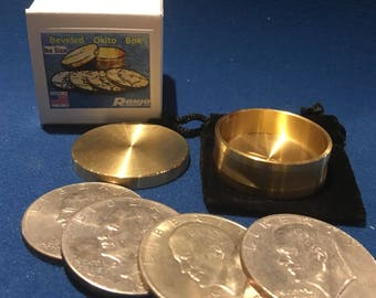 Beveled Okito Box Eisenhower Size, 4 Coin by Ronjo Exclusive Magic