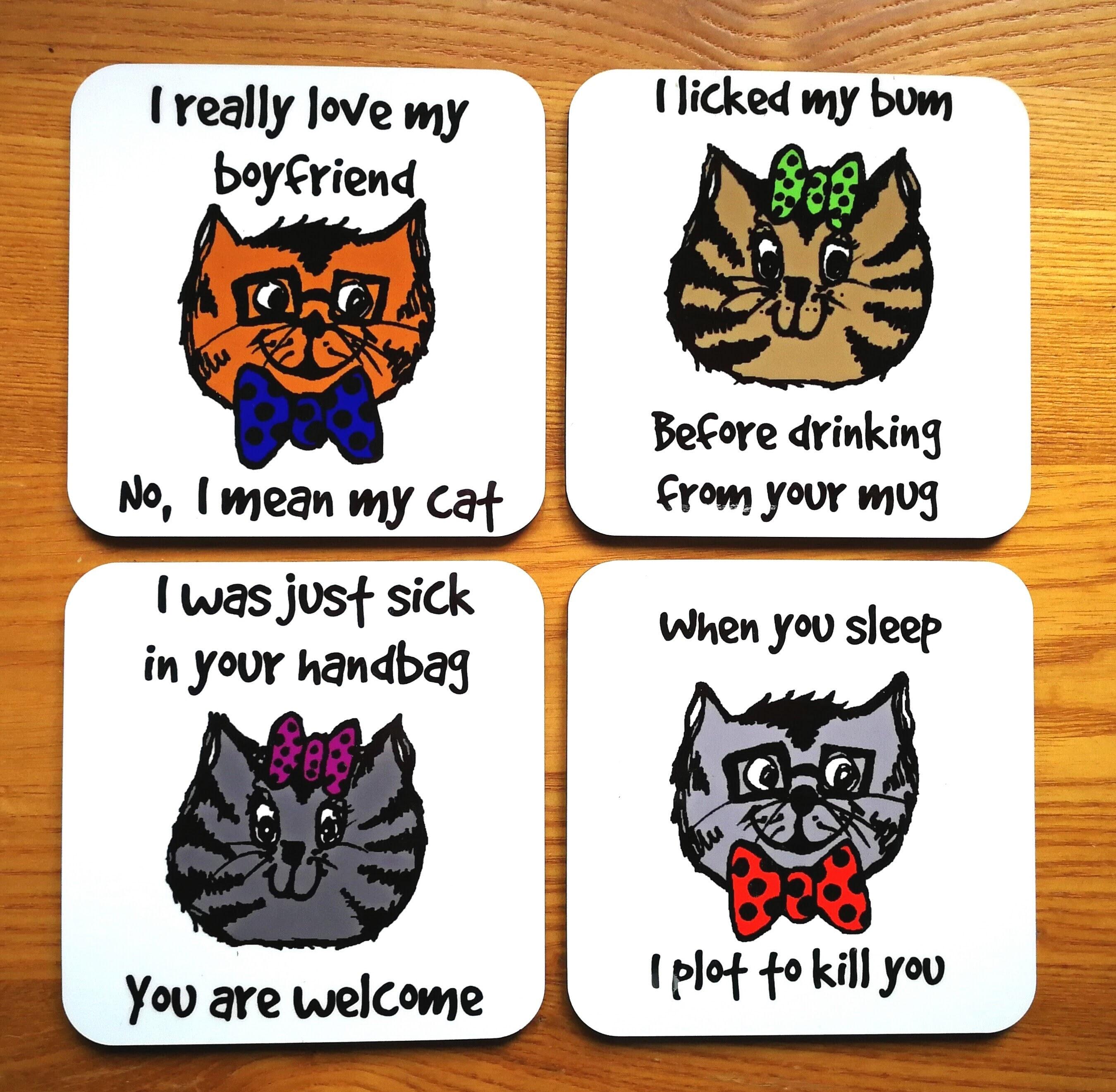 Funny Cat Coaster Set - Evil / Funny Cat Coaster Set