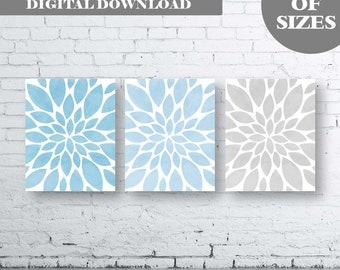 Flower Wall Art-Blue Grey Dahlia Flower Print-Set of Three (3)-Instant Download. Home Petals Bloom Wall Art. Abstract Art. Burst. Ombre