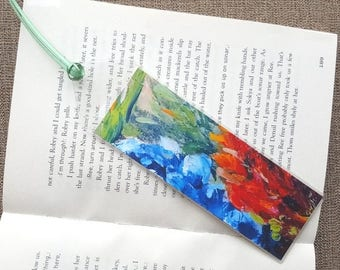 Bluebonnets Unique bookmark Floral bookmark Flowers Texas Flower bookmark Flower reading gift Book lover gift Floral art Teacher gift idea