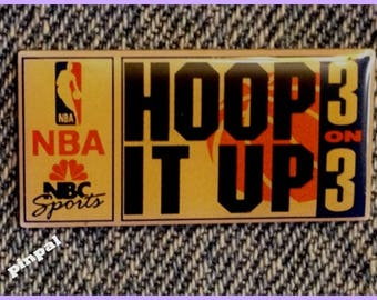 1993 NBC Sports Media Pin ~ Vintage ~ NBA ~ Hoop It Up ~ 3 on 3 ~ Basketball