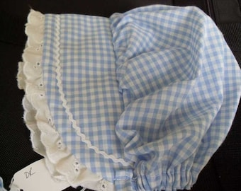 Baby or Toddler BLUE GINGHAM BONNET  sizes newborn,3,6,9,12,18,24 months