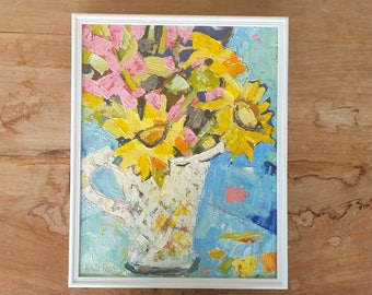 Sunflowers in a cut glass vase/ original oil painting on board with upcycled vintage frame/ ready to hang/knife work/ 38 x 30 cm