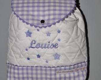 Violet purple backpack kids personalized name embroidered stars