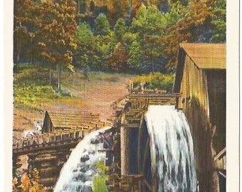 Old Water Wheel During Indian Summer Beautiful Fall image of Old Fashioned Buildings Vintage Postcard Linen Postcard approx 1930's-1940's