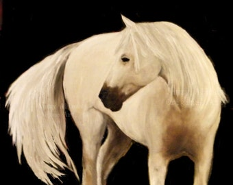 Fine Art Original White Horse Painting, Custom Horse Oil Painting, Horse decor