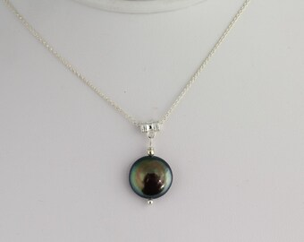 Freshwater Pearl Coin Pendant. Listing  59431906