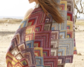 Knitted handmade multicolor blanket / throw / beach throw with domino squares in wool blend