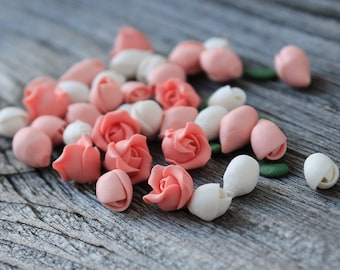 Polymer Clay Rose Flower 48 pcs beads, Miniature Flowers, Polymer Clay Flower Beads, Polymer Clay Flowers Beads, Polymer Clay Beads, Flower