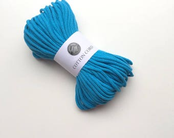 Turquoise cotton cord 50 metres (55 yards), cotton rope, macrame cord, chunky yarn, braided cotton cord, cotton rope, macrame supplies