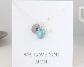 We Love You Mom,Necklace,Initial Necklace,Aquamarine Necklace,Aqua Necklace,Monogram Necklace,Pearl Necklace,Aquamarine Necklace,Aqua