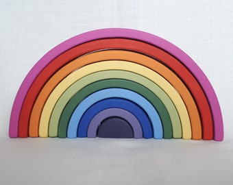 Wooden Toy Rainbow. Stacking toy, Waldorf Toddler Toy, Rainbow