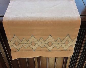 Vintage 50s Pink Embroidered Dresser Scarf, Table Runner