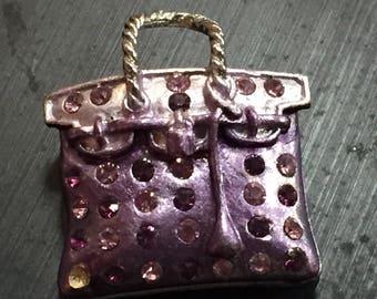 vintage purple purse brooch