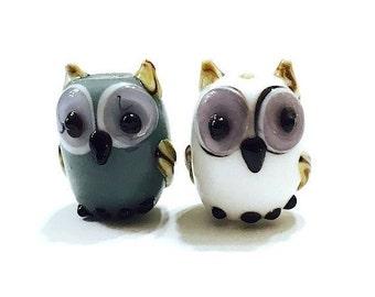 10 pieces Gray and White Owl Lampwork Glass Beads, Animal Beads, Bird Beads