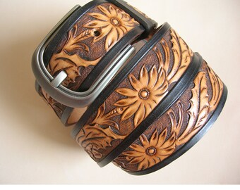 ready to ship. handtooled belt,carving belt.a gift for he.waterproof ,number 009