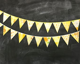 Yellow Bunting Banners - Two 5' Banners - Vintage Fabric Bunting - Pennant Flag Garland - Yellow Party Decoration - Wedding Bunting Garland