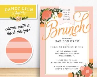 Vintage Peach Bridal Shower Brunch Digital Invitation - DIY Printable