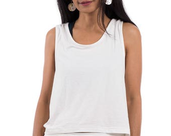 Sleeveless top, white top, summer top, open back top, low cut back top, halter top, off white top : Urban Chic Collection