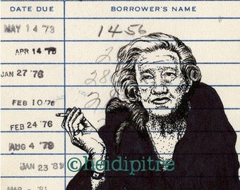 Lillian Hellman Upcycled Library Card Print