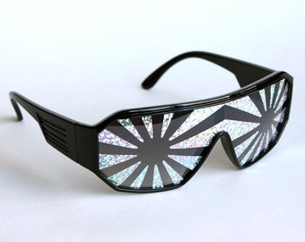 Rasslor Silver Star Burst Black Shield Sunglasses