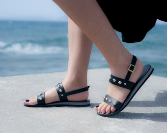 Women sandals, Ancient greek sandals, Extra comfort sole, Hand made leather sandals, Black sandals, NY leather stories