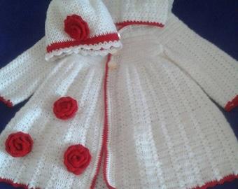 SET BLANKY set girl chacheta long hood and hat worked in crochet