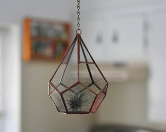 RESERVED for Stephanie - Hanging Teardrop Glass Terrarium -- for air plant terrarium or small succulent