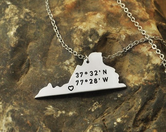 Virginia  necklace Latitude Longitude Necklace Coordinate  925 sterling silver  necklace state necklace map necklace state charm