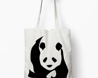 Panda tote bag, canvas tote, animal design tote