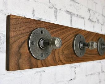Industrial Pipe Coat Rack, Wall Rack, Black Iron Pipe Coat Rack, Coat Rack, Walnut Wood