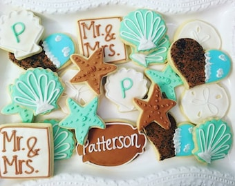 1 dozen beach wedding theme cookies!