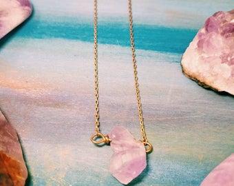 Amethyst Necklace bar pendant purple row gold silver