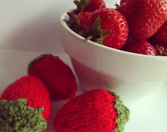 Handmade knitted strawberry pincushion pretend food