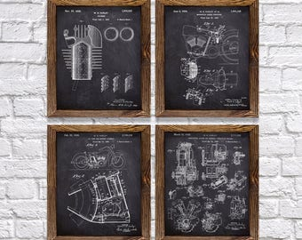 "Great Harley Davidson Gift for Harley Riders - Set of Four 8""x10"" Vintage Harley Patent Prints (set#4)"