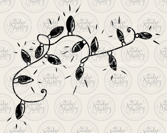 Line Art Hand : Christmas lights vector clip art hand drawn cut file svg