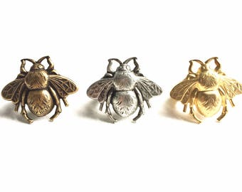 Large Bumble Bee Rings with Golden Brass Antique Silver or Antique Gold Finish