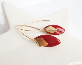 Red and gold modern earrings gold earrings simple gold plated original earrings elegant red and gold jewelry