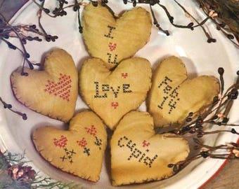 Valentine Ornies Faux Cross-stitch Pattern - PDF embroidery primitive old stitchery vintage bowl filler ornaments